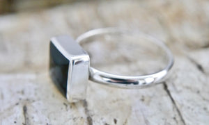 Whitby Jet Silver Ring Square Design