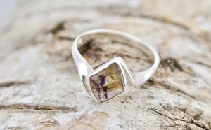 Blue John Diamond Shape Silver Ring