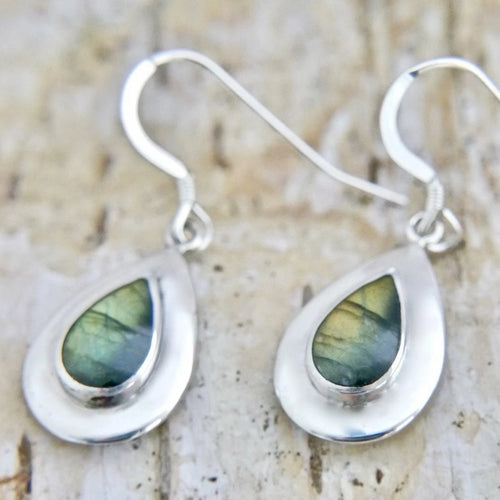 Labradorite Silver Drop Earrings Peardrop