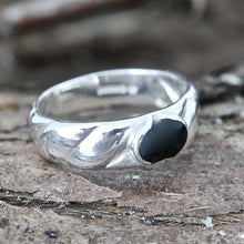 Load image into Gallery viewer, Silver Ring Band with Whitby Jet
