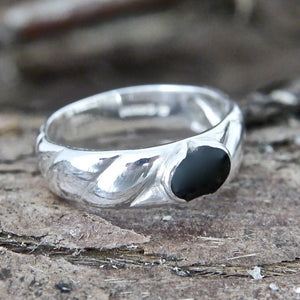 Silver Ring Band with Whitby Jet