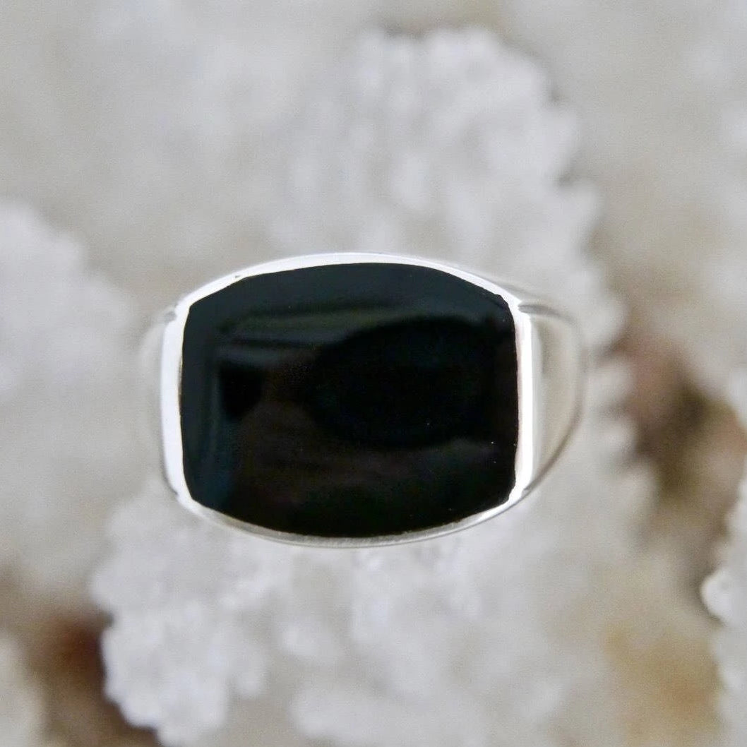 Whitby Jet Ring Cushion Shape