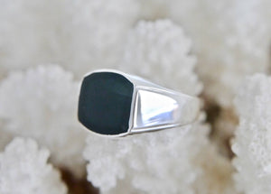 Whitby Jet Silver Gents Ring