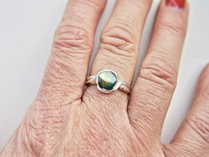 Labradorite Silver Ring 8mm Round