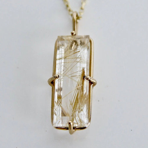 Rutiliated Quartz Pendant in 9ct Gold