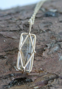 Rutilated Quartz Pendant 9ct Gold with Chain