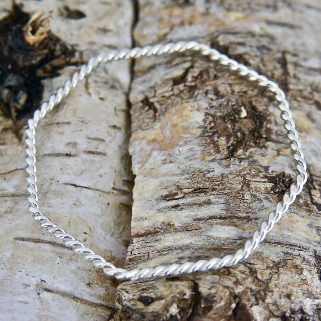 Twisted Wire Silver Bangle