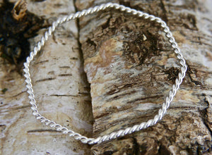 Silver Wire Bangle Octagon Shape