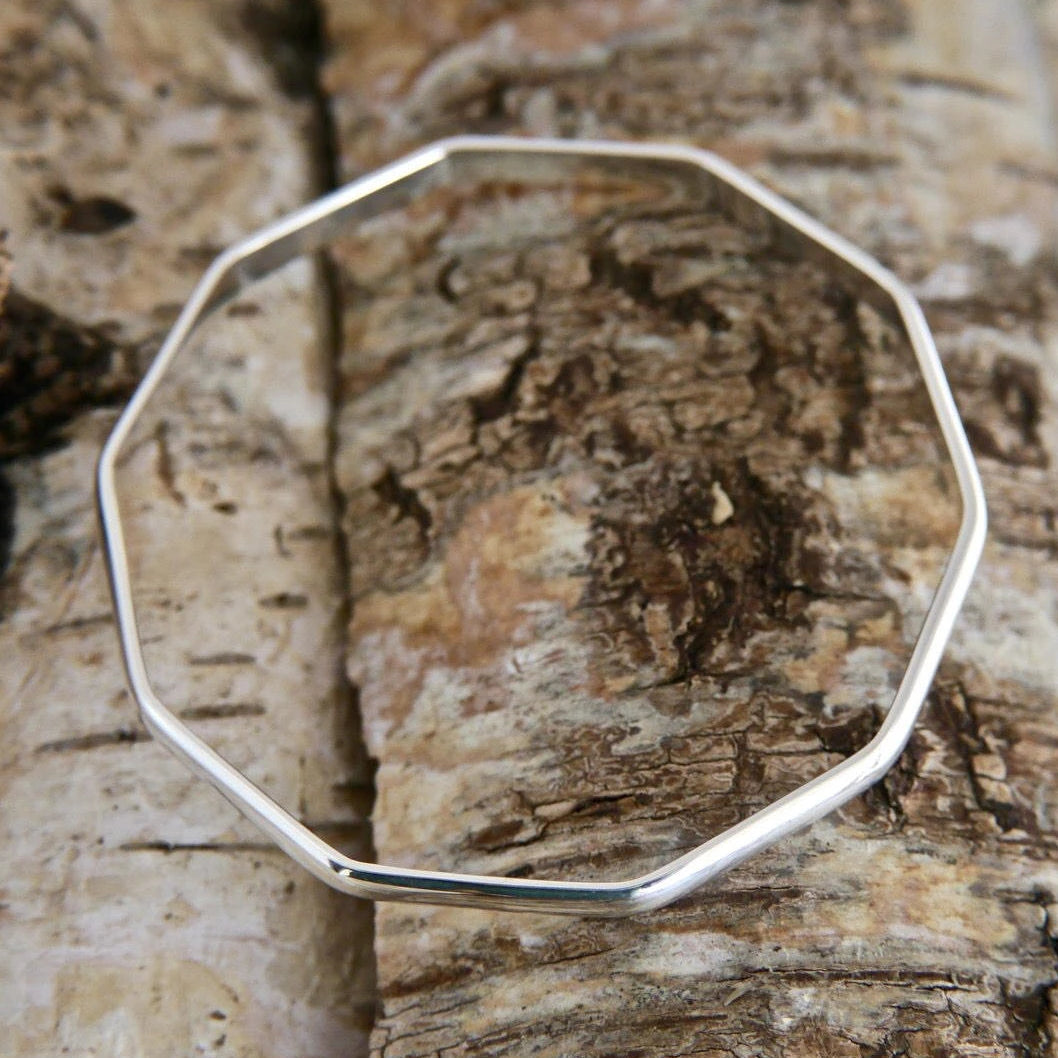 Silver Decagon Bangle 5mm D Shape