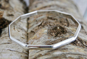 Silver Decagon Bangle 5mm D-shape