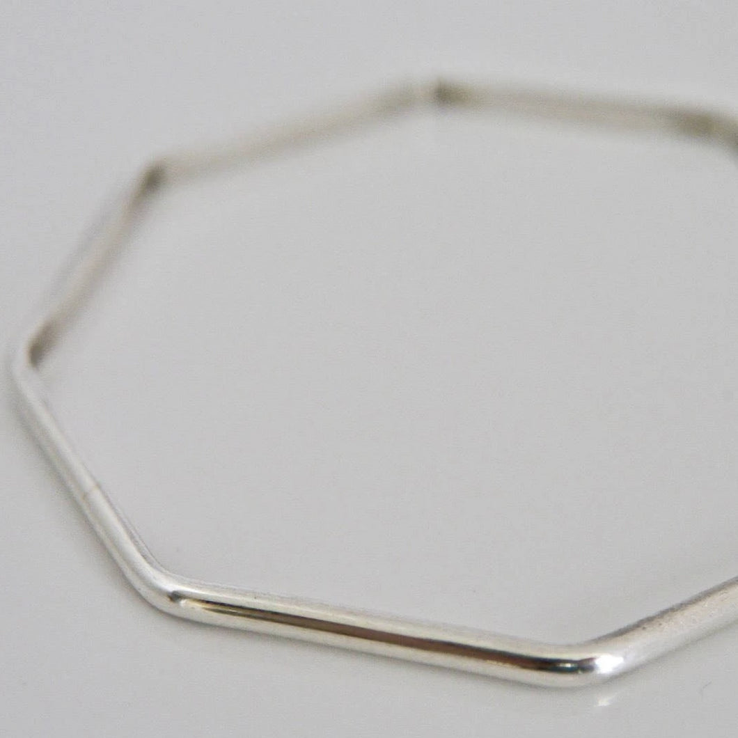 Silver Octagon Bangle D Shape 3mm