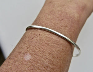 Solid Silver Round Bangle D Shape 3mm