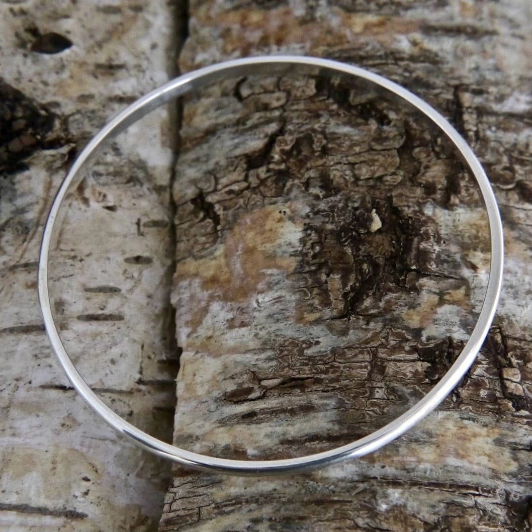 Round Silver Bangle 3mm
