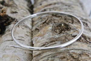 Set of 3 Silver Bangles 3mm D-Shape