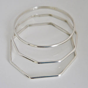Set of 3 Silver Bangles 3mm