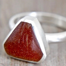 Load image into Gallery viewer, Goldstone ring triangle design