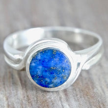 Load image into Gallery viewer, Lapis Lazuli Silver Ring Round