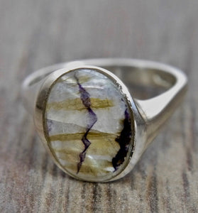 Blue John Oval Silver Ring