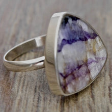 Load image into Gallery viewer, Blue John Triangle Silver Ring 20mm