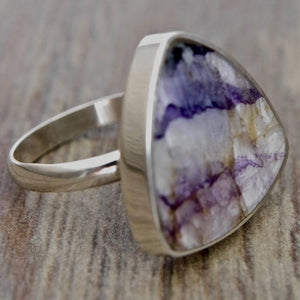 Blue John Triangle Silver Ring 20mm