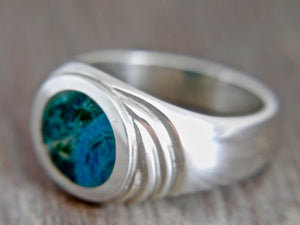 Blue Jasper Mens Silver Ring