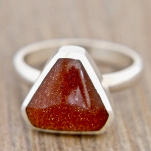 Goldstone Silver Ring Triangle Design
