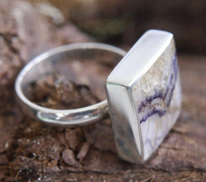 Blue John Square Ring in Silver