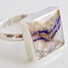 Load image into Gallery viewer, Blue John Square Ring in Silver