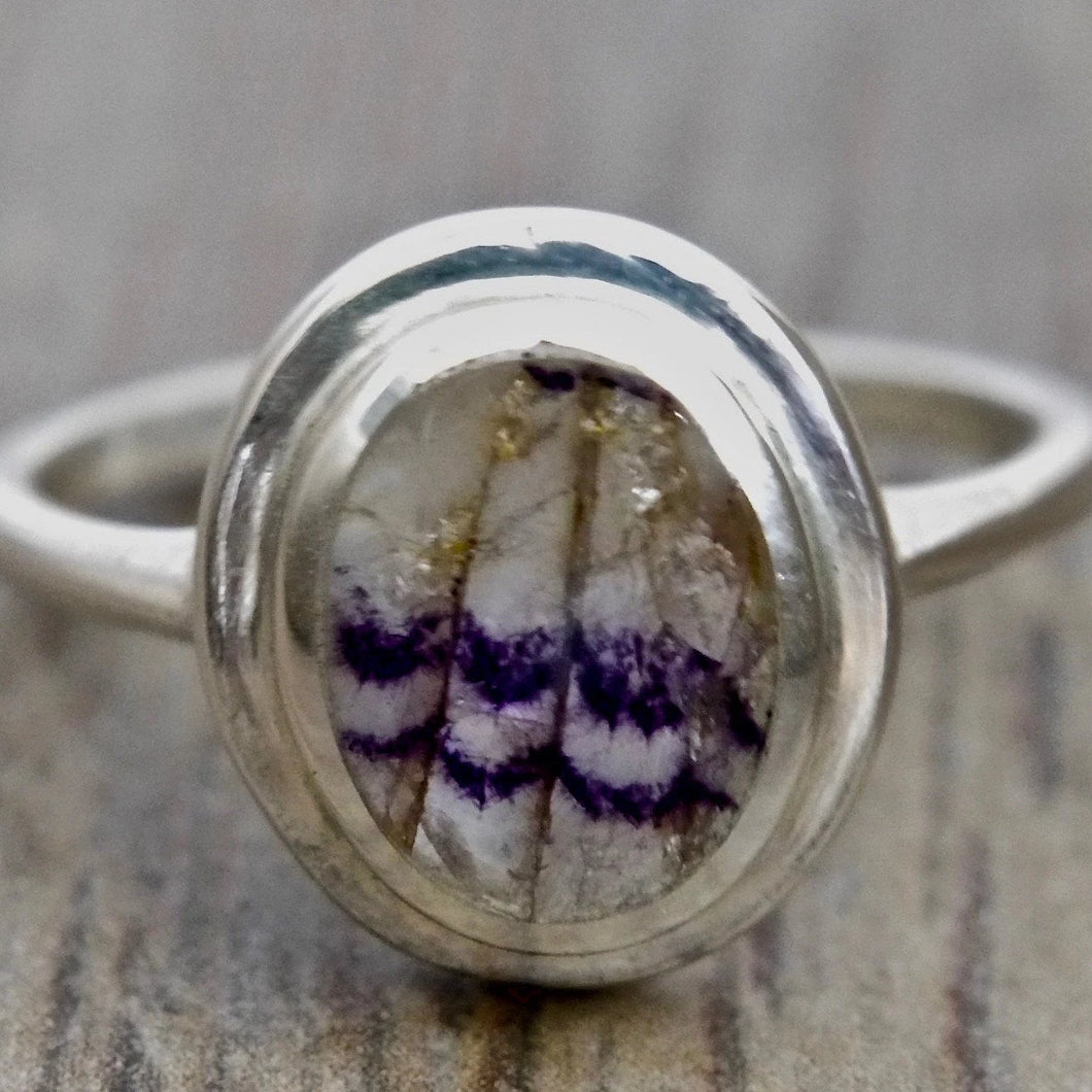 Oval Blue John Silver Ring