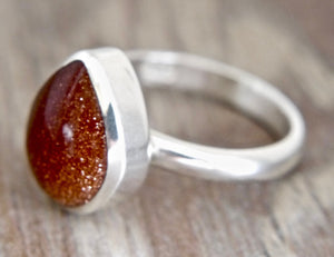 Goldstone Silver Ring Peardrop Design