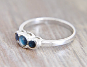 Labradorite Three Stone Silver Ring