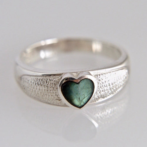 Silver Ring with Heart Shaped Labradorite
