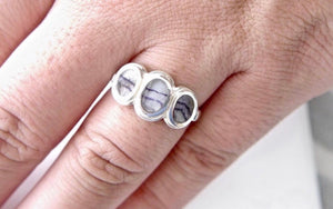 Blue John Three Stone Silver Ring