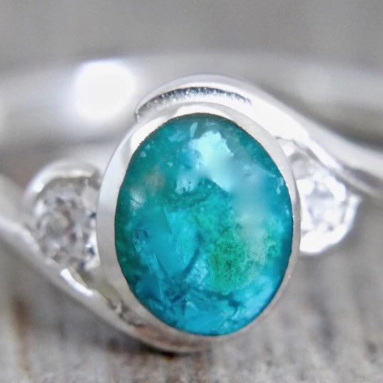Blue Jasper and Cubic Zirconia Ring
