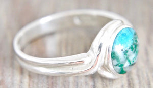Blue Jasper Silver Ring 8mm Round