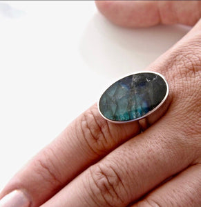 Labradorite Silver Ring Oval Design