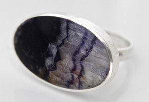 Blue John Silver Ring Oval Design