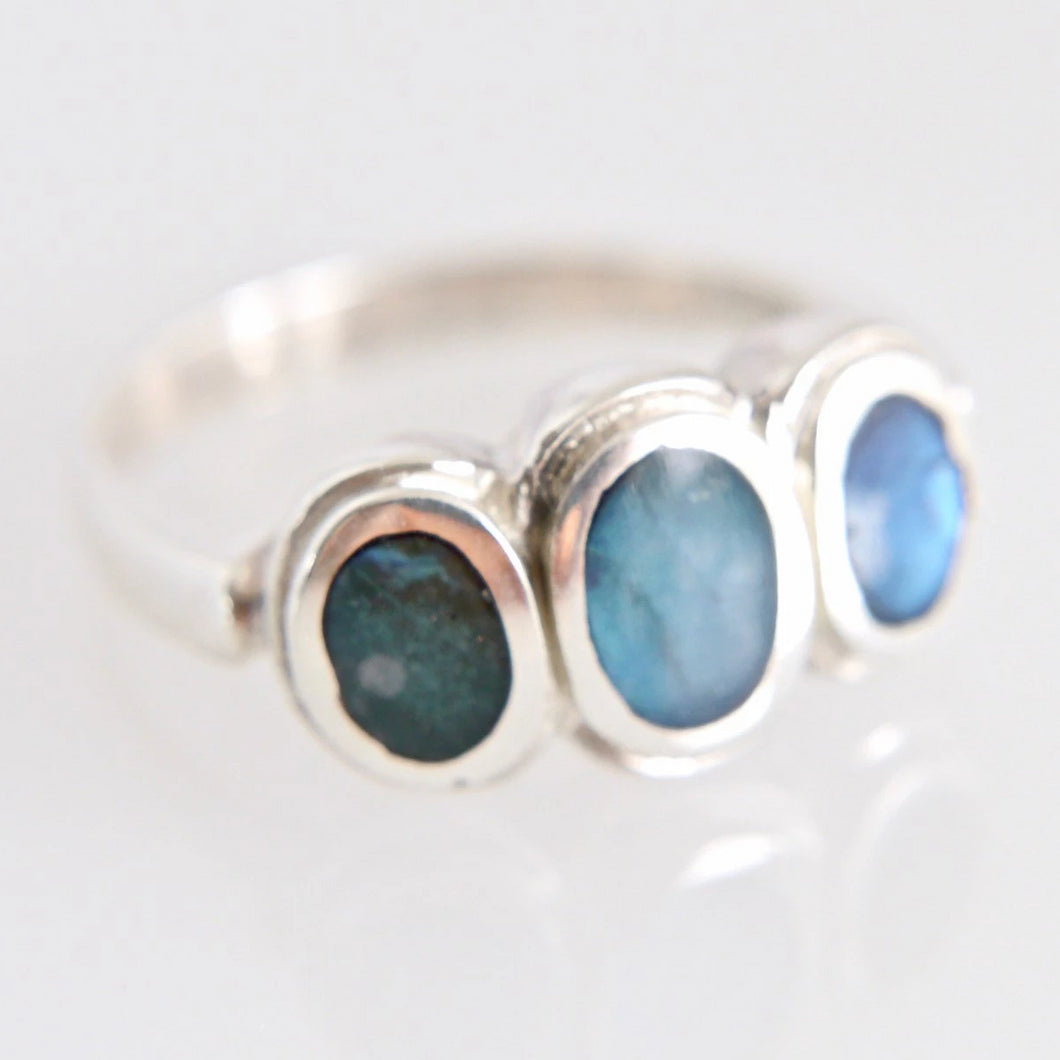 Three Stone Labradorite Silver Ring
