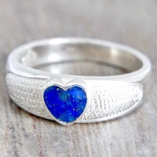 Silver Ring with Heart Shaped Lapis Lazuli