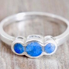 Load image into Gallery viewer, Three Stone Lapis Lazuli Silver Ring