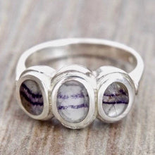 Load image into Gallery viewer, Blue John Three Stone Silver Ring