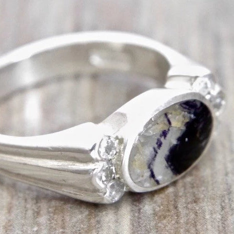 Blue John and Zirconia Silver Ring