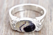 Load image into Gallery viewer, Blue John & Cubic Zirconia Silver Ring