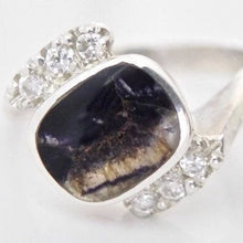 Load image into Gallery viewer, Blue John and Cubic Zirconia Silver Ring