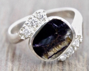Blue John and Cubic Zirconia Silver Ring