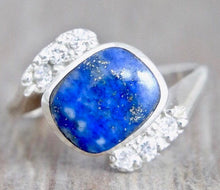 Load image into Gallery viewer, Lapis Lazuli and Cubic Zirconia Silver Ring