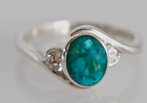 Blue Jasper & Zirconia Silver Ring