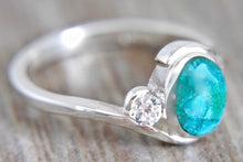 Load image into Gallery viewer, Blue Jasper & Zirconia Silver Ring