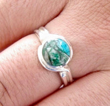 Load image into Gallery viewer, Blue Jasper Silver Ring 8mm Round