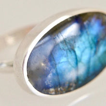 Load image into Gallery viewer, Oval Labradorite Silver Ring